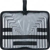Набор ключей имбусовых HEX-TORX, 18 шт: HEX 1,5–10 мм, T10-T50, CrV, удлиненных, с сатиновым покрытием// MTX