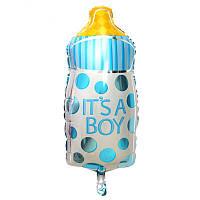 """Мини шарик фольгированный """"Бутылка голубая"""" Размер: 43см*22см. Пр-во:Китай"""