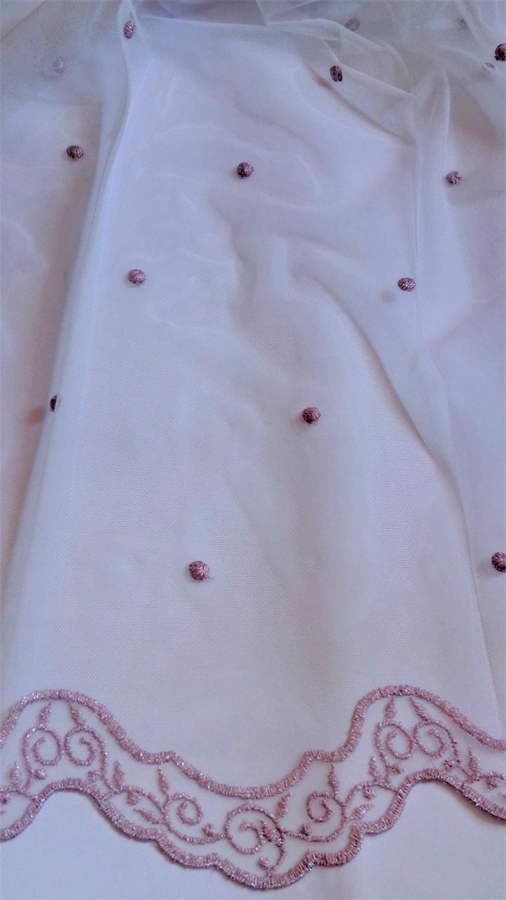 Гардинная ткань с вышивкой 240242 v pudra