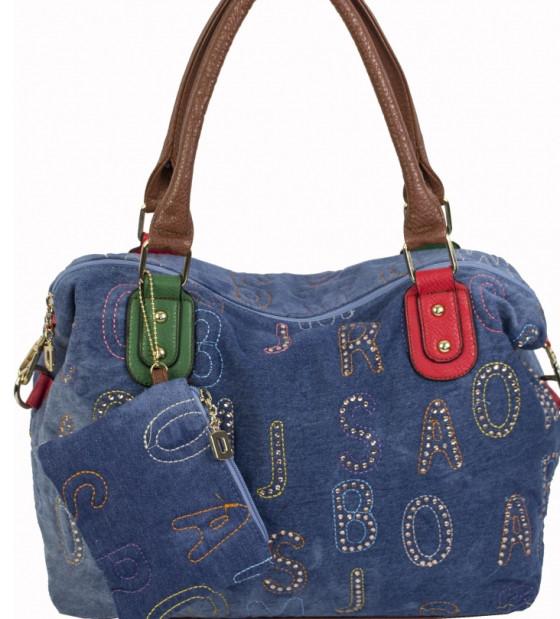 d1b428066967 Женская сумка голубого цвета из джинсовой ткани и кожзаменителя с монетницей  - Интернет-магазин стильных
