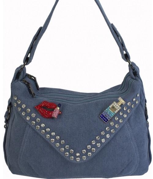 b1394a335197 Женская сумка на плечо из джинсовой ткани и кожзаменителя голубого цвета  украшенная стразами и брошками -