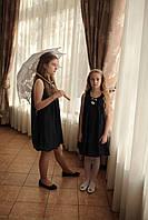 Платье нарядное для девочки синее с шифоном без рукава и с брошью