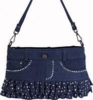 Оригинальная женская сумка на плечо из джинсовой ткани синего цвета