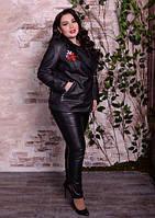Куртка шкіряна з вишивкою для пишних жінок, з 48 по 82 розмір