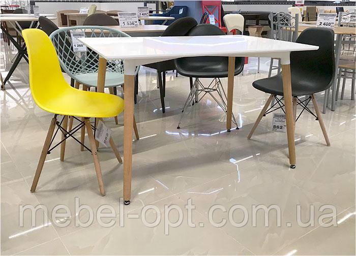 Стол обеденный Nolan DT-9017 прямоугольный белый, деревянные  ножки, копия Mario Cellini Halo Dining Table