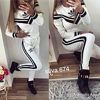 Спортивный костюм женский Адидас белый открытые плечи (3 цвета) НН/-6749