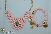 Набор Колье и браслет розовые Цветы Ожерелье цветок камни Шарм Винтаж кольэ комплект розовый цвет жемчуг