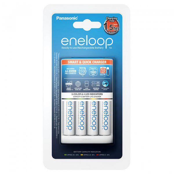 Зарядное устройство Panasonic Smart-Quick Charger (BQ-CC55E) + Eneloop 4AA 2000mAh Ni-Mh (BK- 3MCCE)
