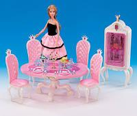 """Мебель """"Gloria"""" столовая, стол, стулья 4шт, посуда, сервант, в кор. 30*19,5*7,5см (12шт)(1212)"""
