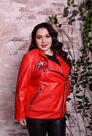 Шкіряна куртка з вишивкою для великих жінок, з 48 по 82 розмір