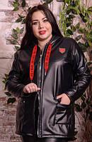 Шкіряна куртка з капюшоном на великих жінок, з 48 по 82 розмір