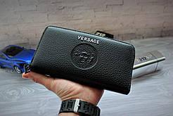 Мужской клатч, портмоне Версаче Versace чёрный (реплика)