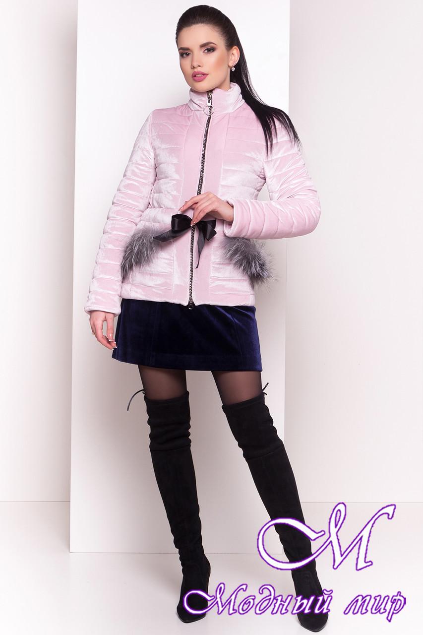 Стильная велюровая демисезонная куртка (р. XS, S, M, L) арт. Дезире 4452 - 21638