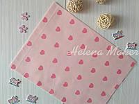 Сатин розовый в сердечки   40*50 см