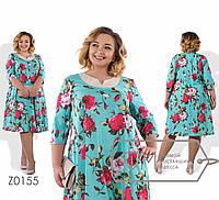 Красивое  женское платье в цветочном принте  свободного кроя батал с 56 по 62 размер