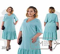 Модное женское платье в горошках полу приталенного кроя батал с 56 по 62 размер