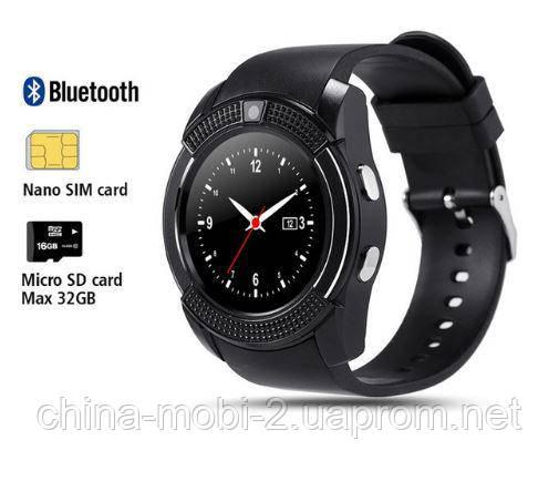 Смарт - часы SMART WATCH V8 black, MicroSIM Bluetooth microSD