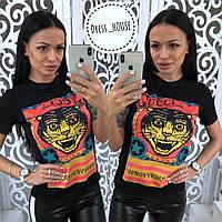 Хлопковая женская футболка с рисунком 5FU34, фото 1