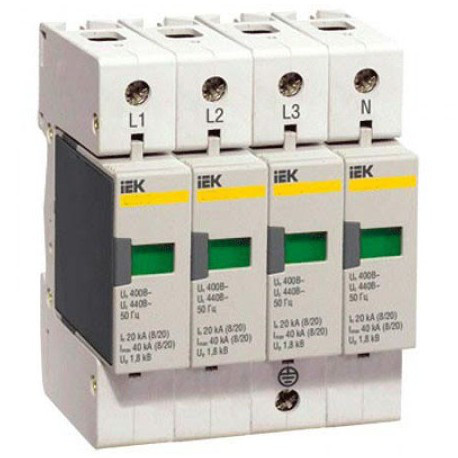 Разрядник ОПС1-C 4P In 20kA Un 400B Im 40kA IEK MOP20-4-C