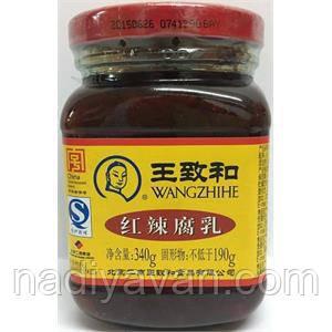 """Ферментированный тофу """"Ван Чжи Хэ"""", маринованный в красном соусе, Wangzhihe, 340 г, фото 2"""