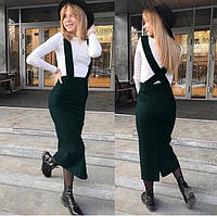 Женская юбка ниже колен на широких бретелях