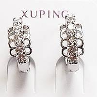 Серьги кольца с прозрачными фианитами, родиевое покрытие. Ювелирная бижутерия Xuping Jewelry., фото 1