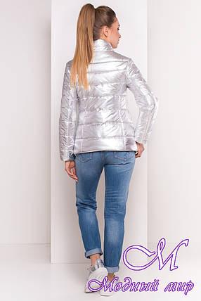 Женская серебристая куртка фольга весна-осень (р. XS, S, M, L, XL) арт. Эллария 4260 - 21966, фото 2