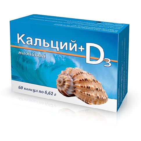 Кальций мидийный + витамин D3 №60