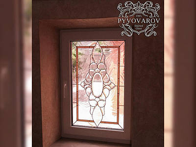 Витражи на окна из прозрачного стекла и фацетов