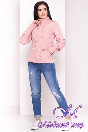 Женская стильная демисезонная куртка нежно-розового цвета (р. S, M, L) арт. Марцелла 4591 - 33764, фото 2