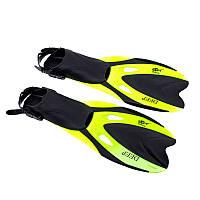 Ласты для плавания с открытой пяткой регулируемые Dolvor F66 размер 40-44 лимонные