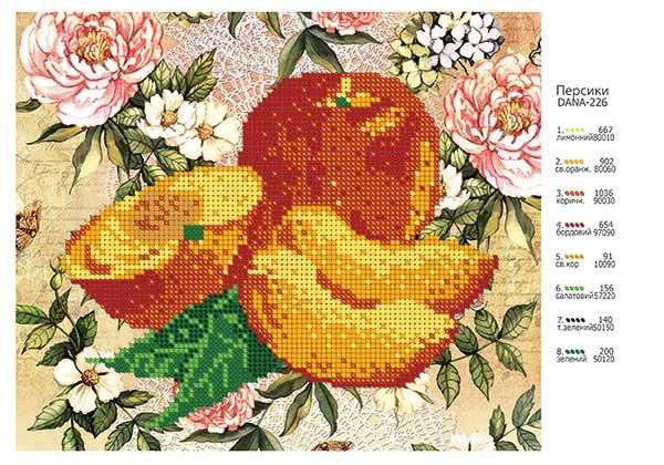 Персики бисером схема
