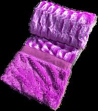 Плед-покрывало на кровать меховое норка квадратики  сиреневый