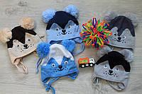 Шапка для мальчиков на завязках Мишка на 1-2 года