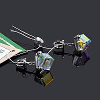 Серебряные серьги пусеты Кубик Swarovski, фото 1