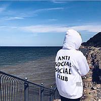Толстовка белая A.S.S.C. Antisocial social club logo  | Худи женская, фото 1