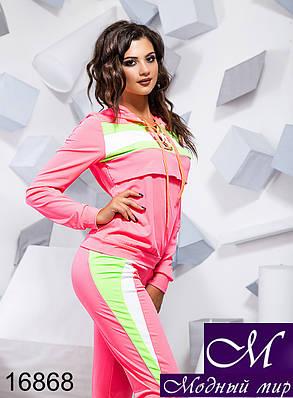 Женский ярко-розовый спортивный костюм (р. S, M, L) арт. 16868, фото 2