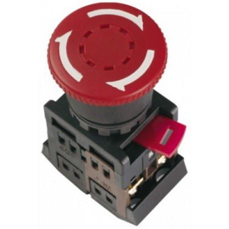 """Кнопка AEAL-22 """"Грибок""""з фіксацією червоний (d22мм 230В 1 Н.О.+1 Н.З.) IEK BBG60-AEAL-K04"""