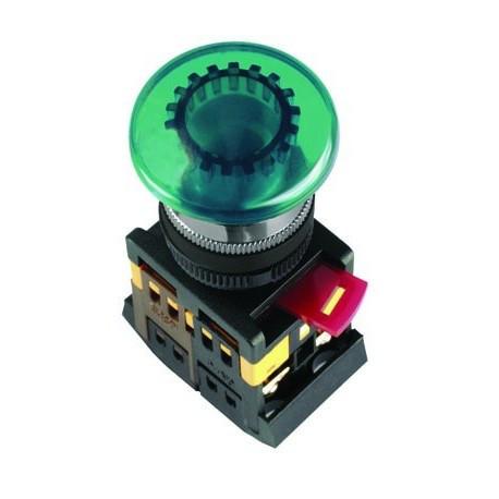 """Кнопка AEА-22 """"Грибок"""" зеленый (d22мм 1 Н.О.+1 Н.З.) IEK BBG30-AEA-K06"""