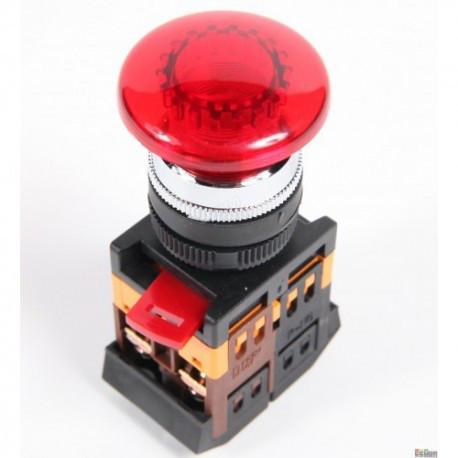 """Кнопка AELA-22 """"Грибок"""" красный (d22мм неон/230В 1 Н.О.+1 Н.З.) IEK BBG20-AELA-K04"""
