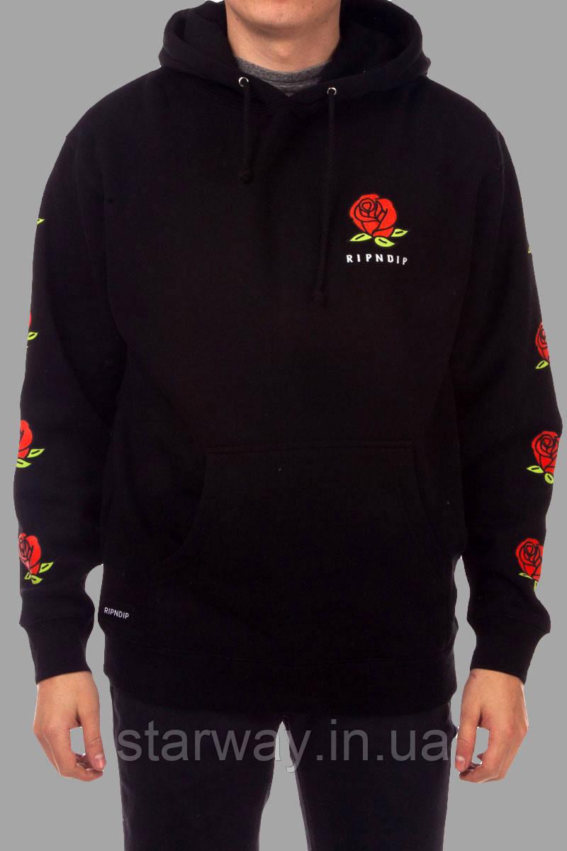 Толстовка чорна RipNDip Rose logo   Худі стильна