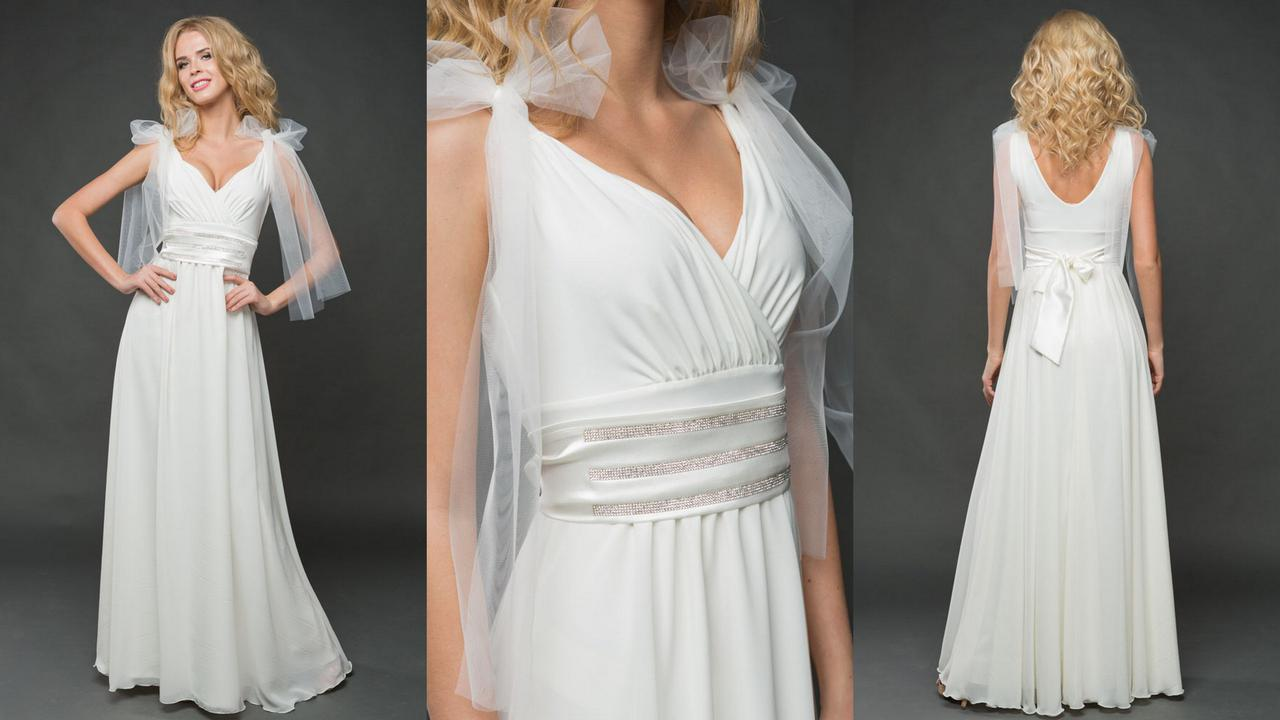 """Длинное вечернее платье """"VITALINA"""" с шифоновой юбкой и декольте"""