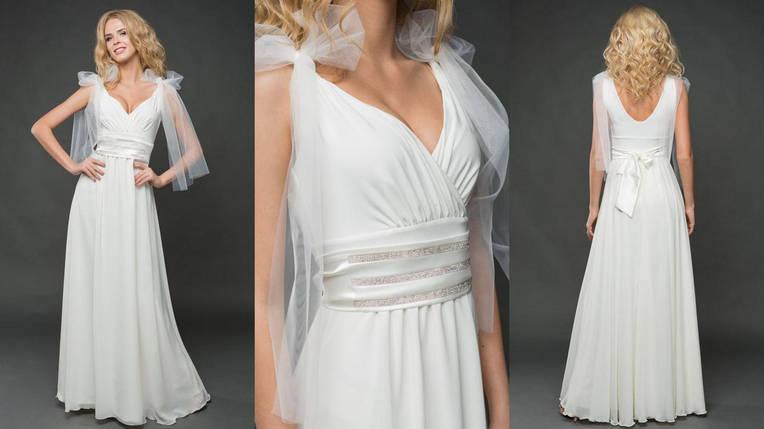 """Длинное вечернее платье """"VITALINA"""" с шифоновой юбкой и декольте, фото 2"""