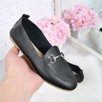 Туфли лоферы Lorri черный 4494 , балетки женские