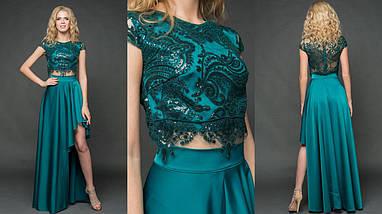 """Нарядный женский костюм-двойка """"MILITA"""" с асимметричной юбкой (9 цветов), фото 3"""