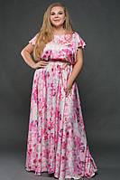 """Длинное нарядное платье в пол """"Atlas"""" с цветочным принтом (большие размеры)"""