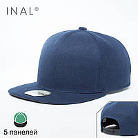 Кепка бейсболка, 5 панелей, L / 57-58 RU, 80% Акрил 20% Шерсть, Синий,Inal