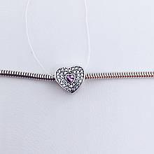 Серебряное украшение Шарм сердце
