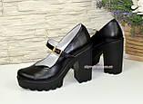 Женские черные кожаные туфли на высоком каблуке., фото 3