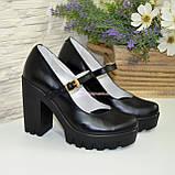Женские черные кожаные туфли на высоком каблуке., фото 4